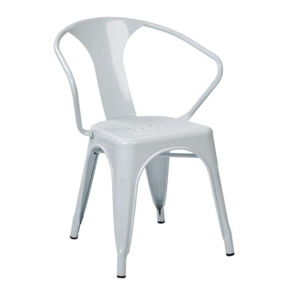 OSP Home Furnishings Patterson White Metal Arm Chair (Set of 4)