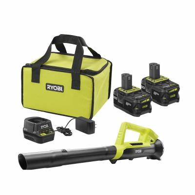 18-Volt ONE+ High Capacity 4.0 Ah Battery (2-Pack) Starter Kit with Charger and Bag with FREE ONE+ 90 MPH Leaf Blower