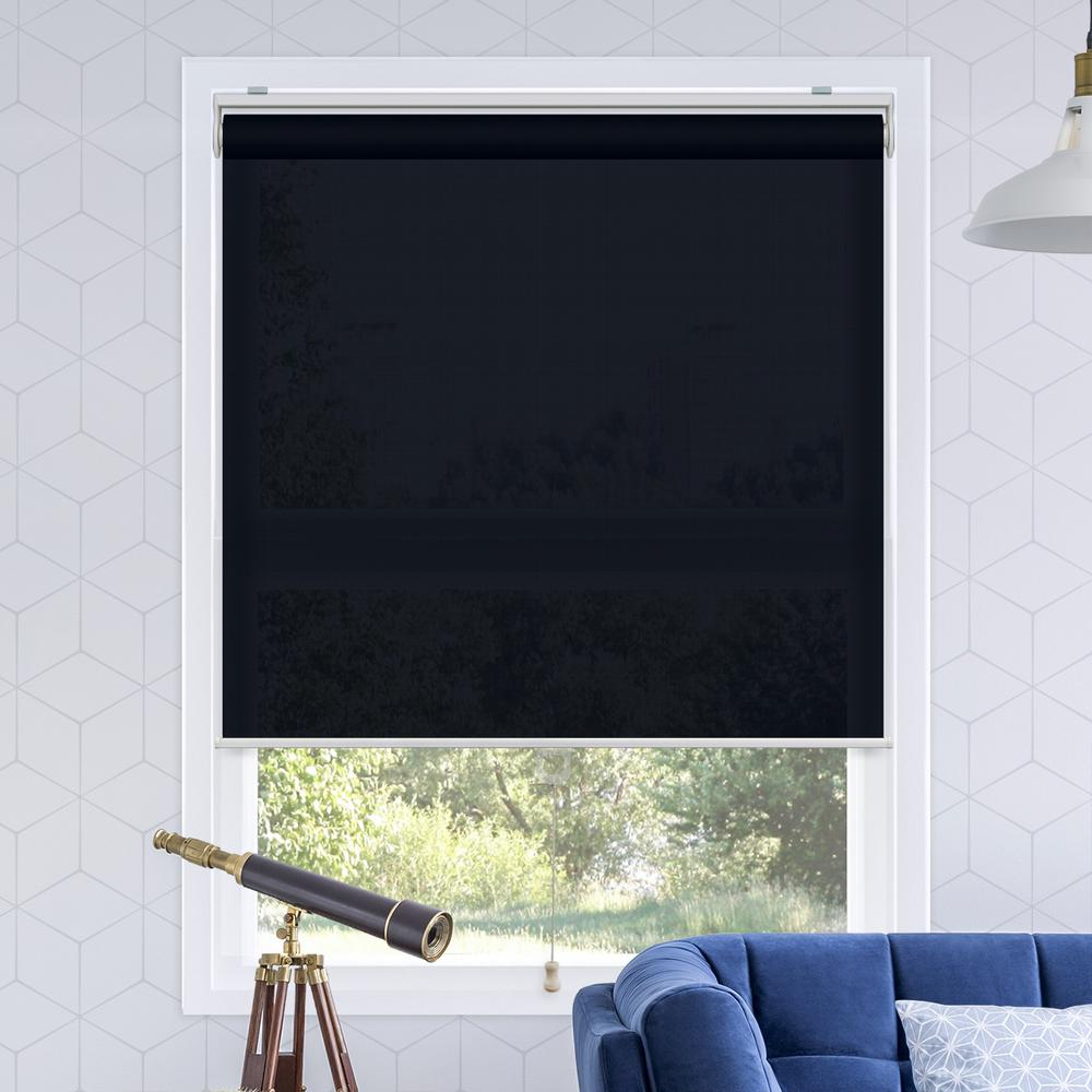 Snap-N'-Glide Urban Dark Blue Polyester Cordless Horizontal Roller Shades - 39