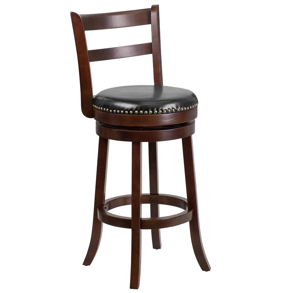 30 in. Black and Cappuccino Swivel Cushioned Bar Stool