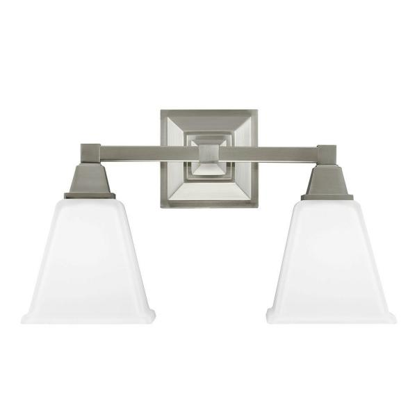 Denhelm 16.5 in. W. 2-Light Brushed Nickel Wall/Bath Vanity Light with Inside White Painted Etched Glass
