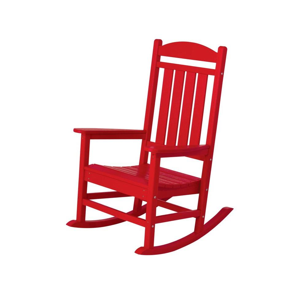 POLYWOOD Presidential Sunset Red Patio Rocker-R100SR - The ...