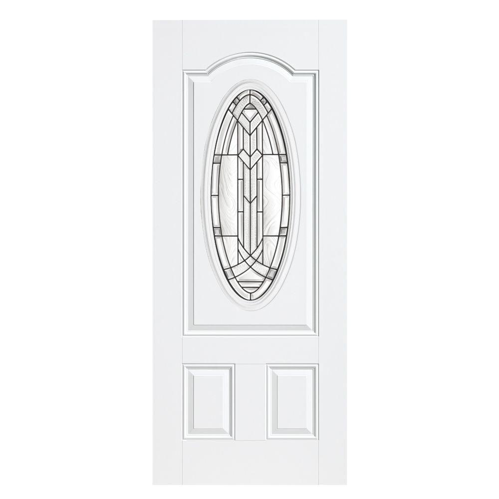 Masonite 36 in. x 80 in. Chatham 3/4 Oval Left Hand Outswing Primed White Smooth Fiberglass Prehung Front Door