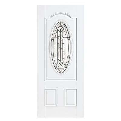 36 in. x 80 in. Chatham 3/4 Oval Left Hand Outswing Primed White Smooth Fiberglass Prehung Front Door