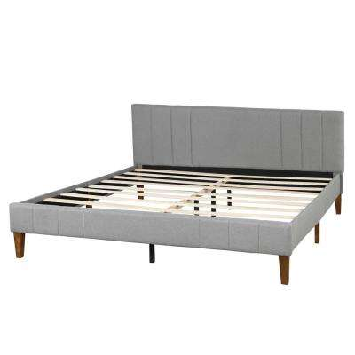Gray King Tufted Upholstered Platform Bed