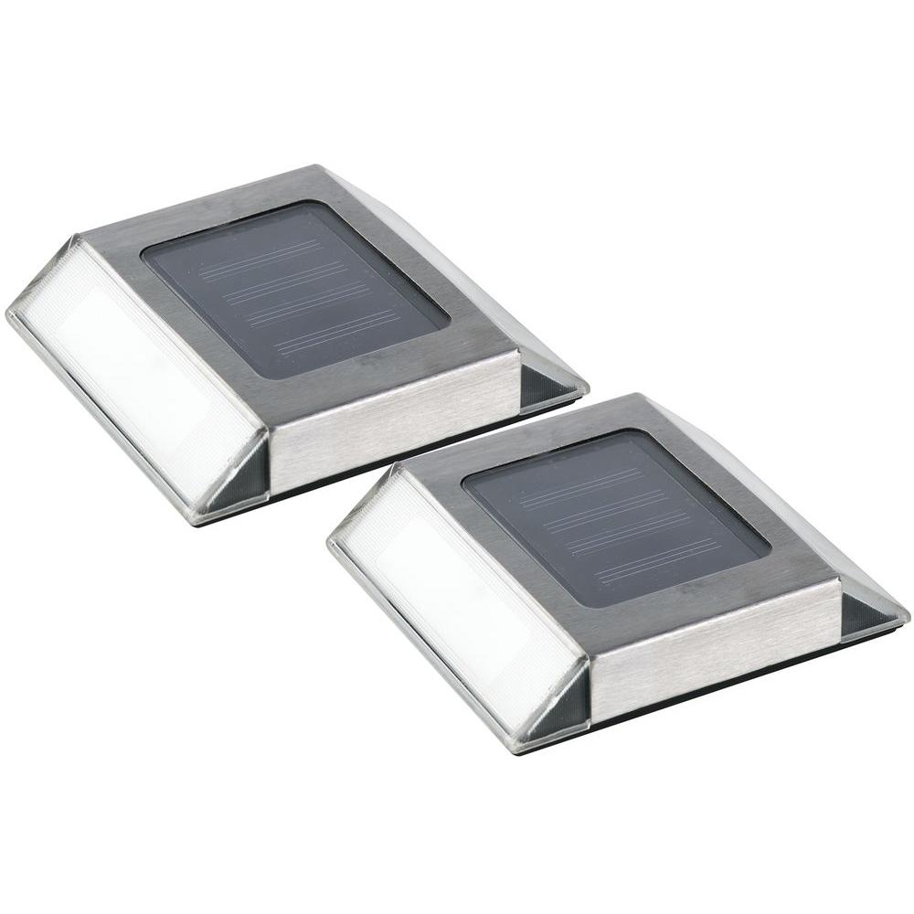 Nature Power Solar Powered Stainless Steel Outdoor Integrated LED Pathway Light (2-Pack)