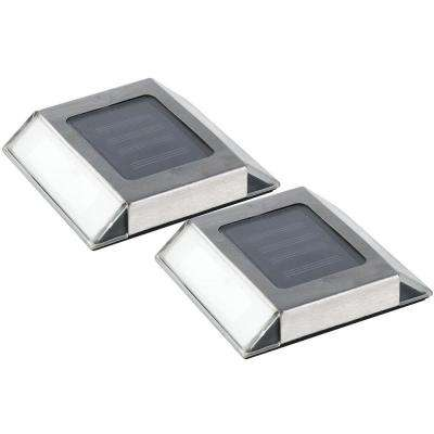 Solar Powered Stainless Steel Outdoor Integrated LED Pathway Light (2-Pack)