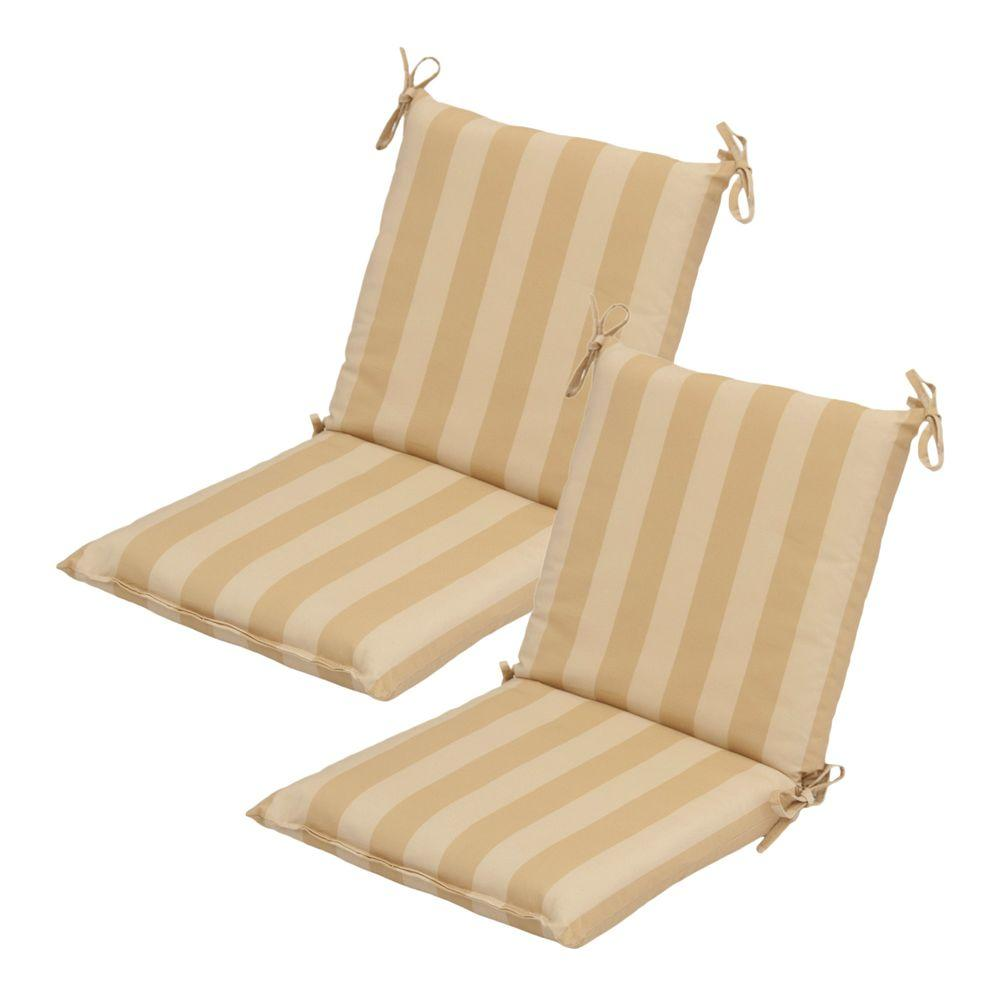Hampton Bay Roux Stripe Mid Back Outdoor Chair Cushion (2-Pack)-DISCONTINUED