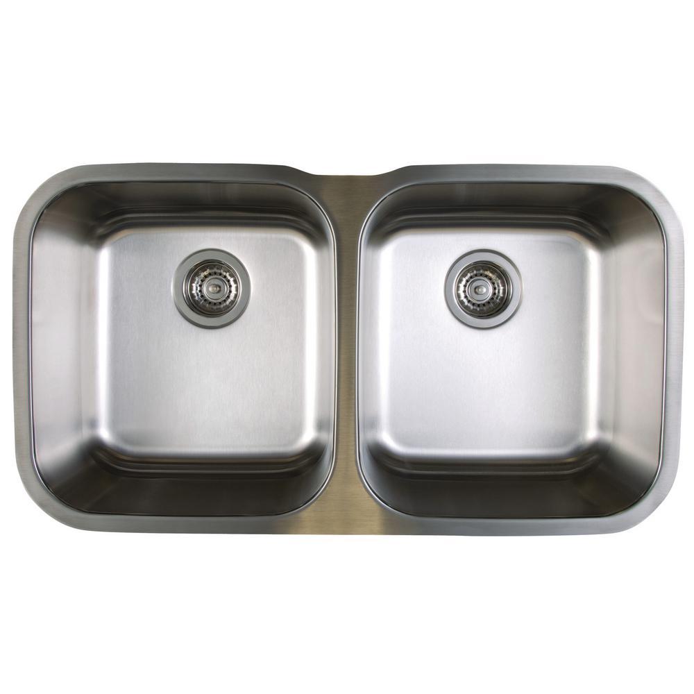 Blanco STELLAR Undermount Stainless Steel 33 in. 50/50 Double Bowl Kitchen  Sink