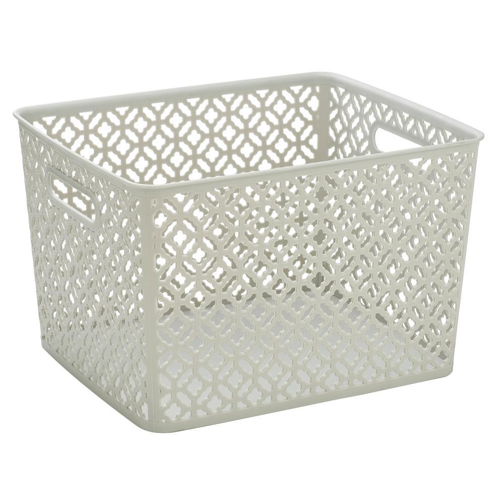 Trellis Large Storage Bin in  sc 1 st  Home Depot & Plastic - Cube Storage u0026 Accessories - Storage u0026 Organization - The ...