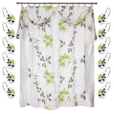 Mayan Leaf 72 in. White Shower Curtain and Hook Set