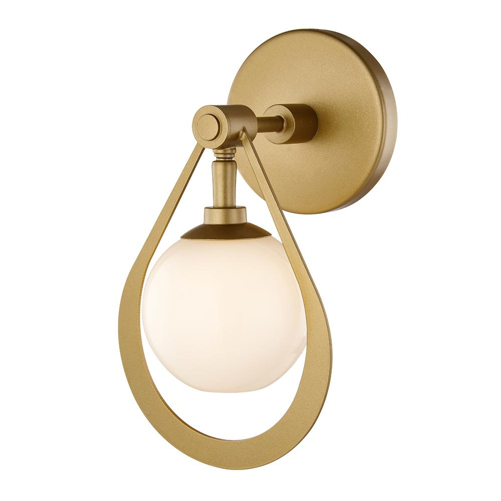 Charm 1-Light Champagne Silver LED Wall Sconce with Glass Shade