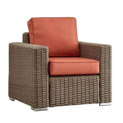 Camari Mocha Square Arm Wicker Outdoor Patio Lounge Chair with Red Cushion