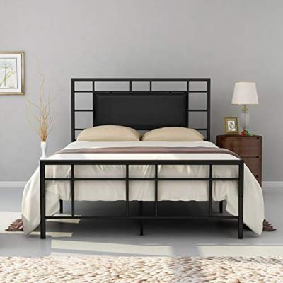 Black Metal Bed Frame Platform Full Size with Headboard and Footboard (53.82 in. W x 77.95 in. D x 46.46 in. H)