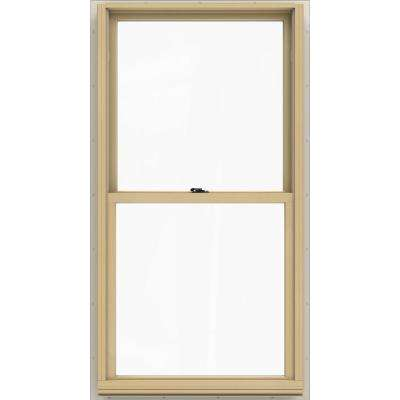 29.375 in. x 56.5 in. W-2500 Series White Painted Clad Wood Double Hung Window w/ Natural Interior and Low-E Glass