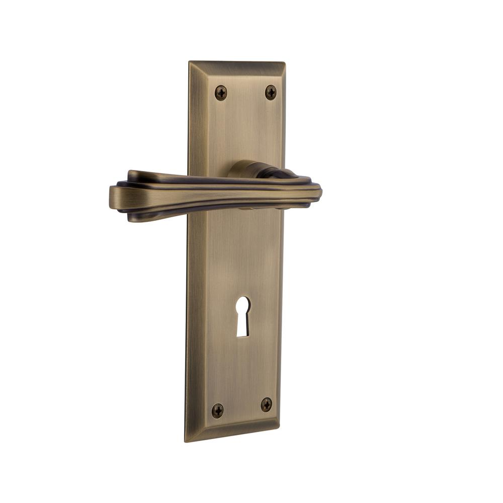 Nostalgic Warehouse New York Plate Antique Brass Single Dummy Door Lever With Keyhole Fleur 772463 The Home Depot