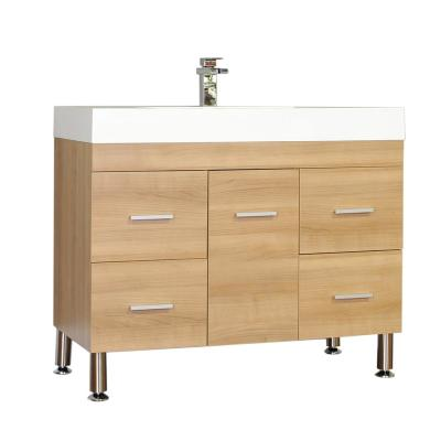 The Modern 39.25 in. W x 18.75 in. D Bath Vanity in Light Oak with Acrylic Vanity Top in White with White Basin