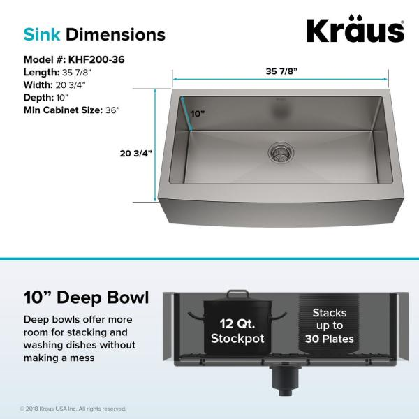 Kraus Standart Pro Farmhouse Apron Front Stainless Steel 36 In Single Bowl Kitchen Sink Khf200 36 The Home Depot