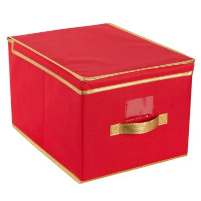 Holiday Polyester Christmas Jumbo Storage Box in Red