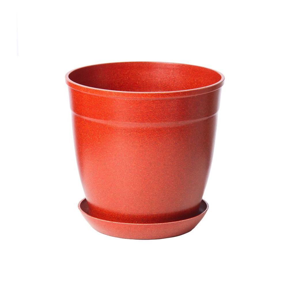 8 in. Brick Bio-Degradable Rice Hulls Patio Pot and Saucer