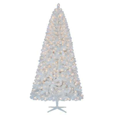 7.5 ft. Pre-Lit LED Glossy White North Hill Spruce Artificial Christmas Tree with 500 Warm White Lights