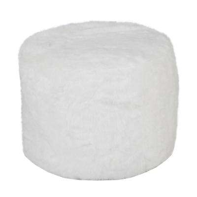 Faux Fur Fluffy 18 in. x 14 in. White Indoor Ottoman Pouf