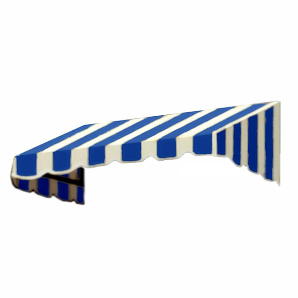 AWNTECH 10 ft. San Francisco Window/Entry Awning (24 in. H x 42 in. D) in Bright Blue/White Stripe