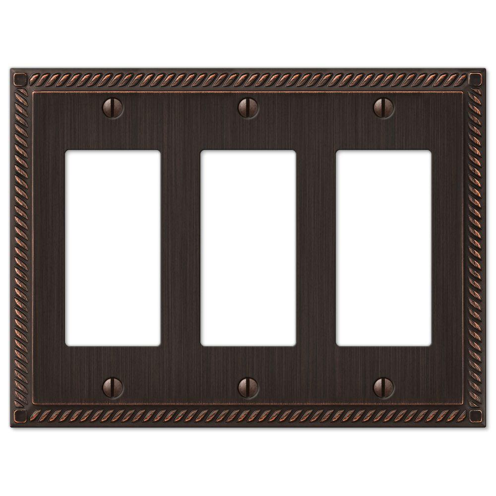 Georgian 3-Gang Decora Wall Plate - Aged Bronze