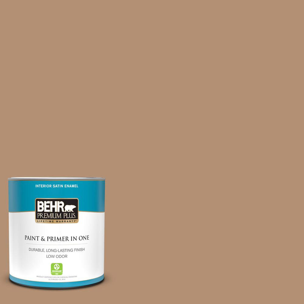 Behr Premium Plus 1 Qt S240 5 Poncho Satin Enamel Low Odor Interior Paint And Primer In One 740004 The Home Depot