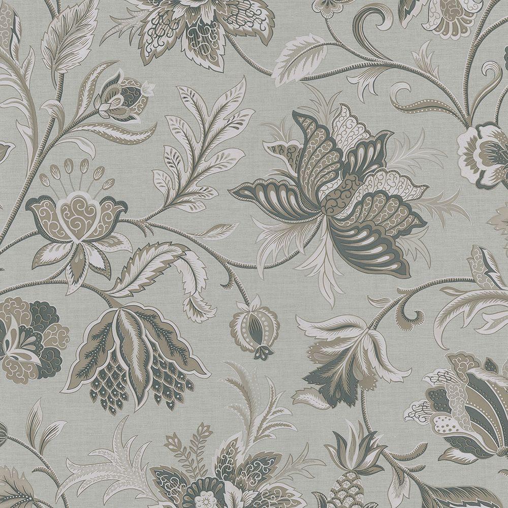 Brewster Hollie Silver Jacobean Wallpaper Sample