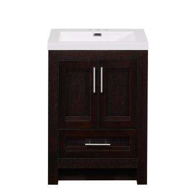 24 in. W Bathroom Vanity In Rich Walnut Finish, Cultured Marble Top and Basin