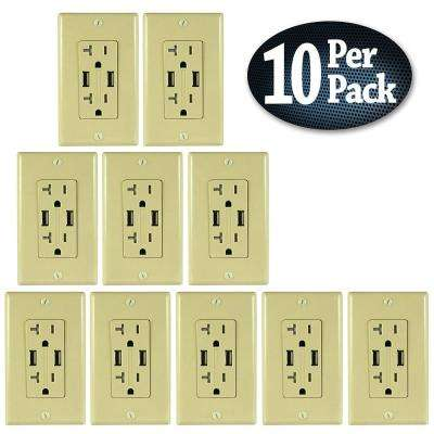 2 AC Wall Outlets and 2 USB Charging Ports Wall Plate Tamper Resistant, 5 Amp USB, 20 Amp AC Outlet, Ivory, (10-Pack)