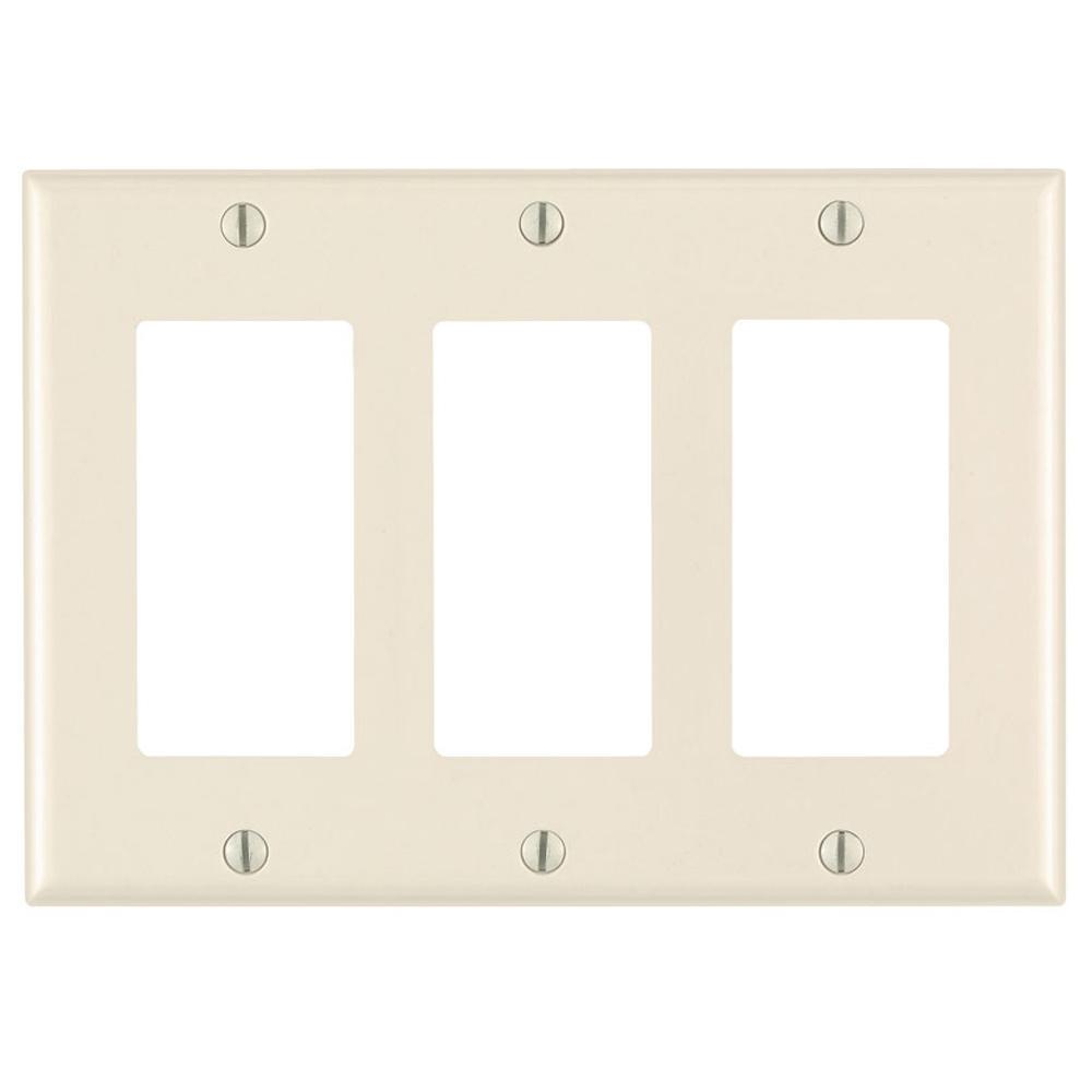 Leviton 3-Gang Decora Rocker Switch Wall Plate, Light Almond