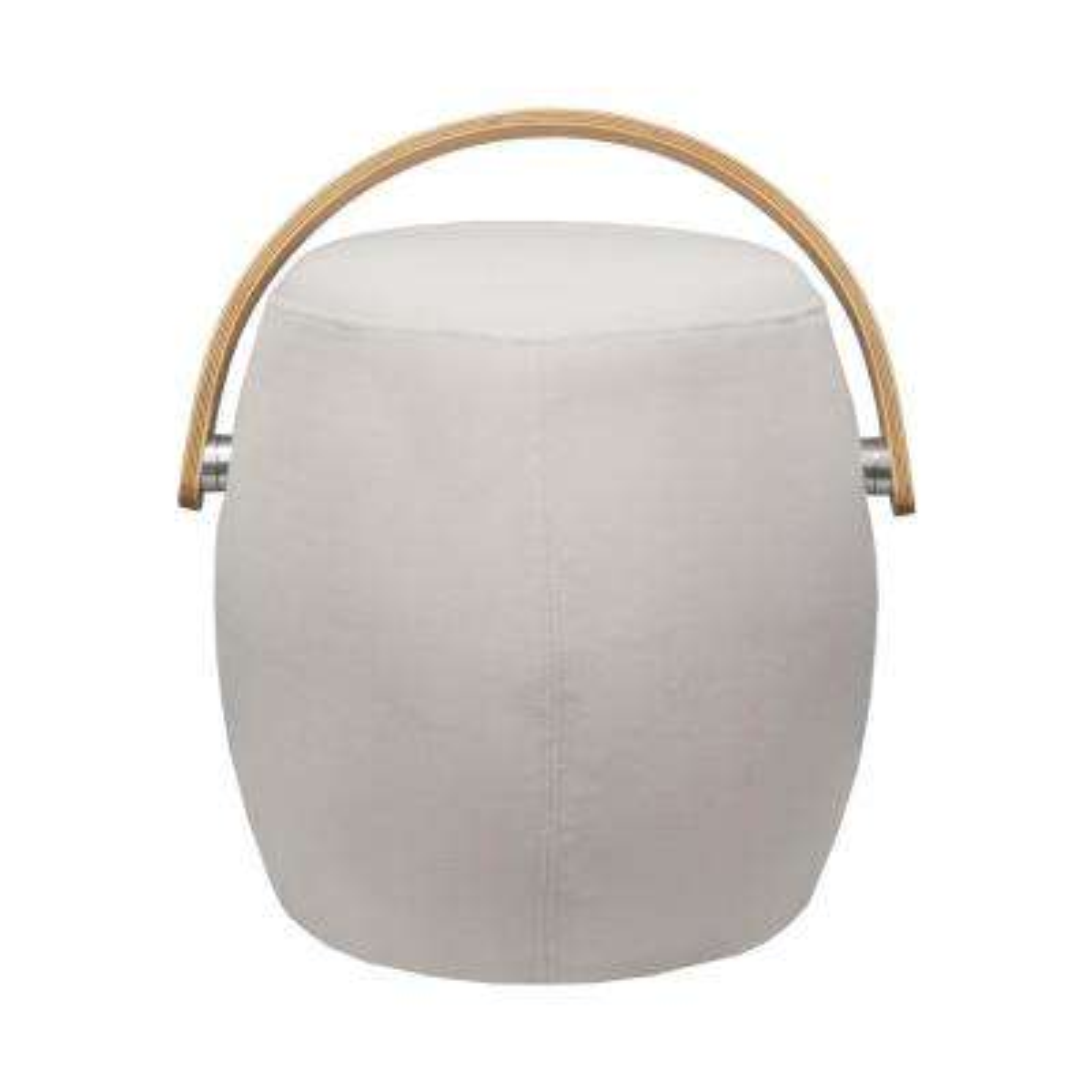 Bucket Beige Fabric Ottoman Stool Chair