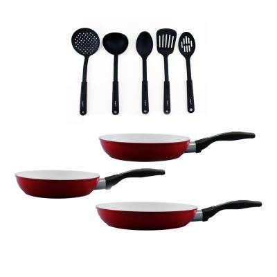 Ceramis 8-Piece Non-Stick Fry Pan Set with Utensils