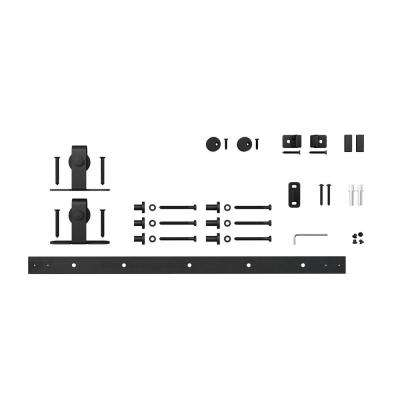 4 ft. Black Solid Steel Mini Sliding Rolling Barn Door Hardware Kit for Single Furniture Wood Doors