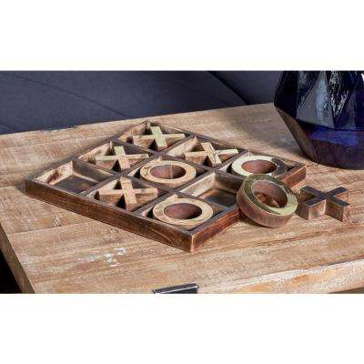 Brown Wood and Brass Tic Tac Toe Set