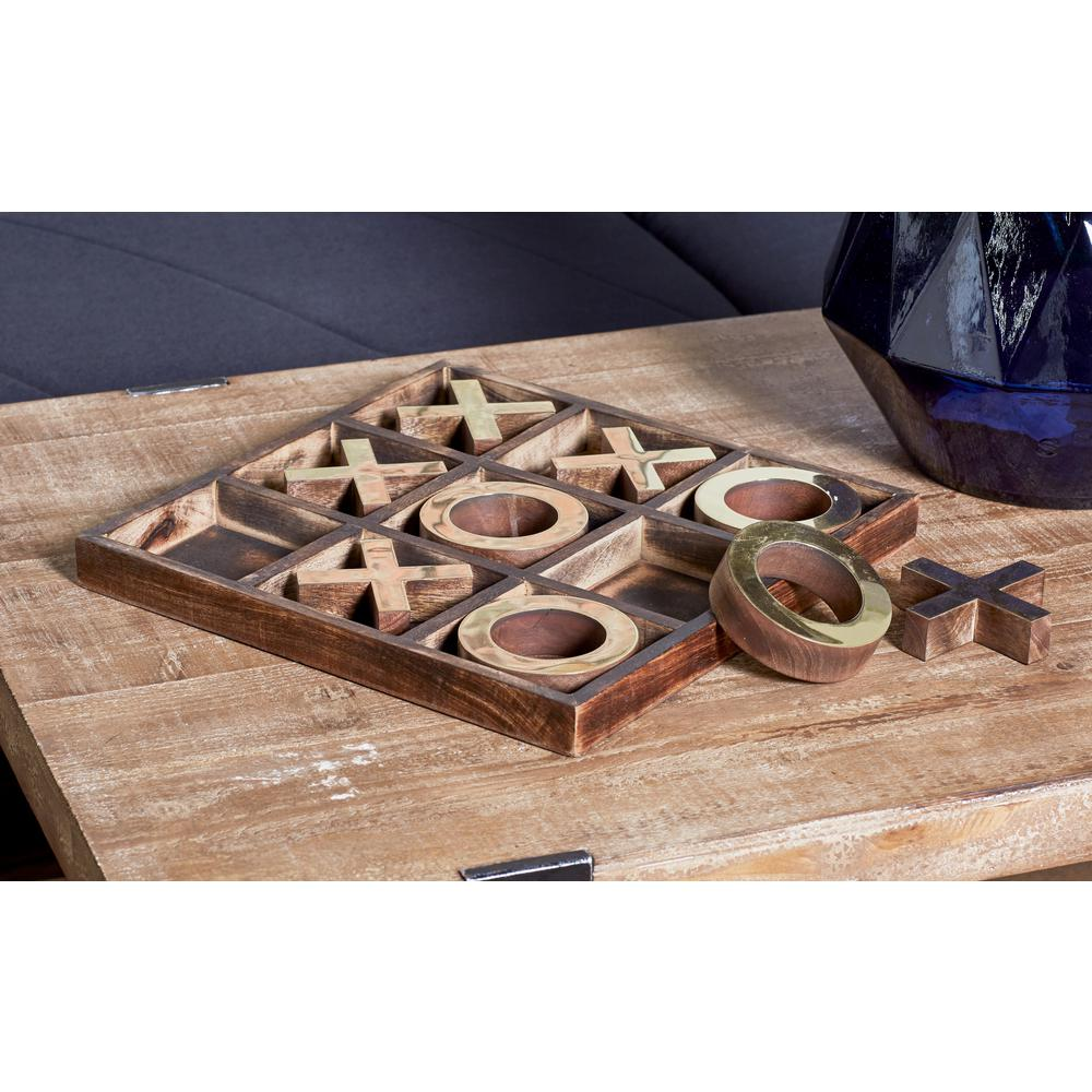 Litton Lane Brown Wood And Brass Tic Tac Toe Set 28556 The Home Depot