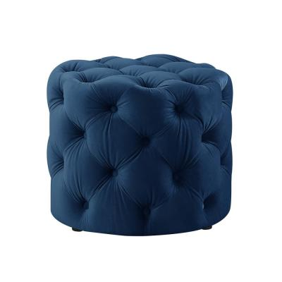 Marianna Navy Velvet Tufted Allover Upholstered Round Ottoman