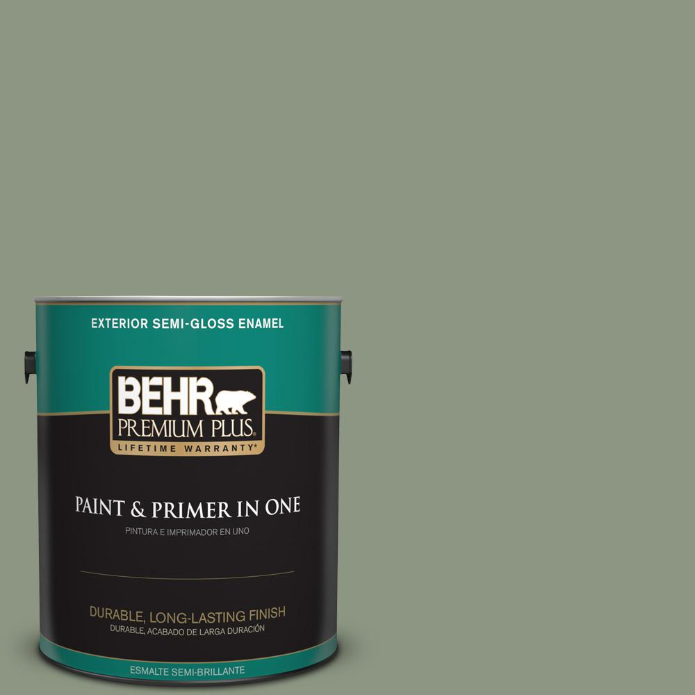 1 gal. #PPU11-17 Hillside Green Semi-Gloss Enamel Exterior Paint