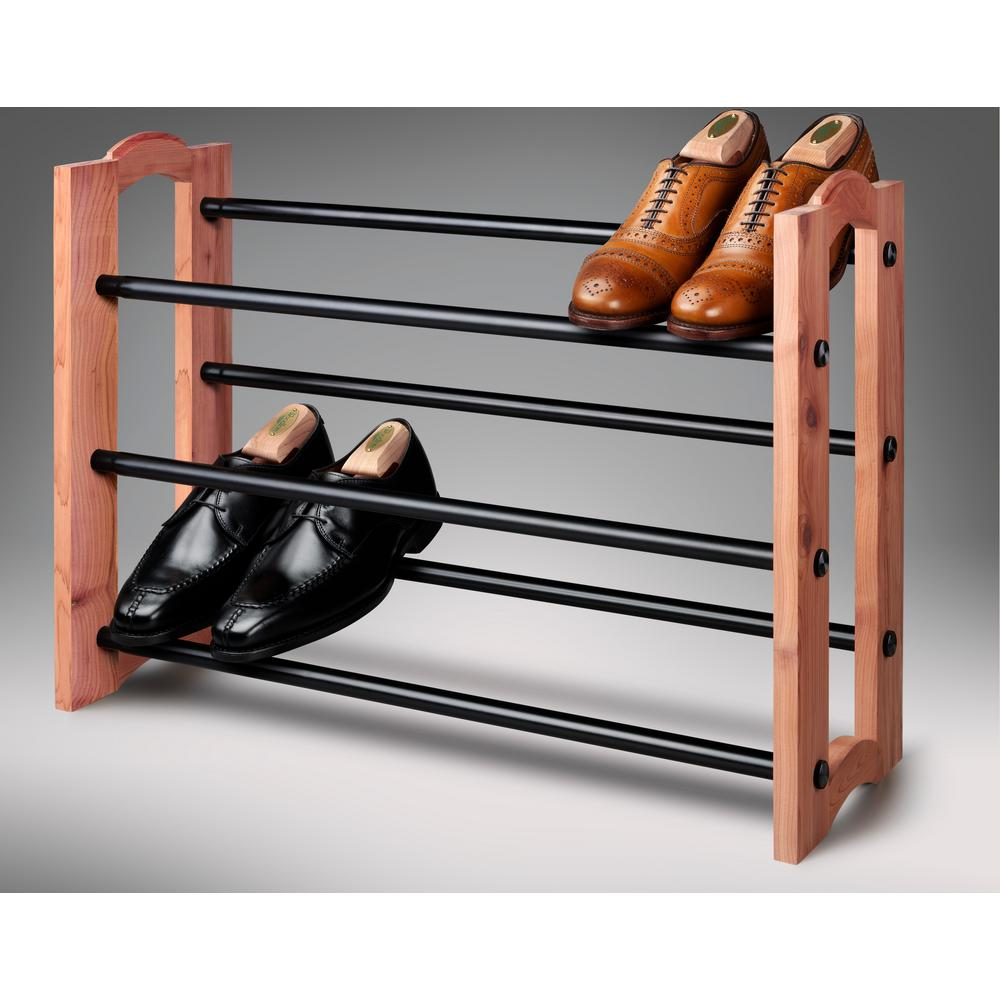 Woodlore Expandable 3-Tiered Cedar and Metal Shoe Rack-82704 - The Home Depot