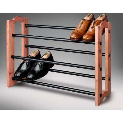 Expandable 3-Tiered Cedar and Metal Shoe Rack