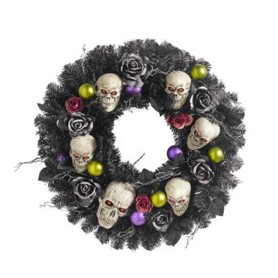 30 in. Artificial Halloween Wreath with Flowers and Skulls