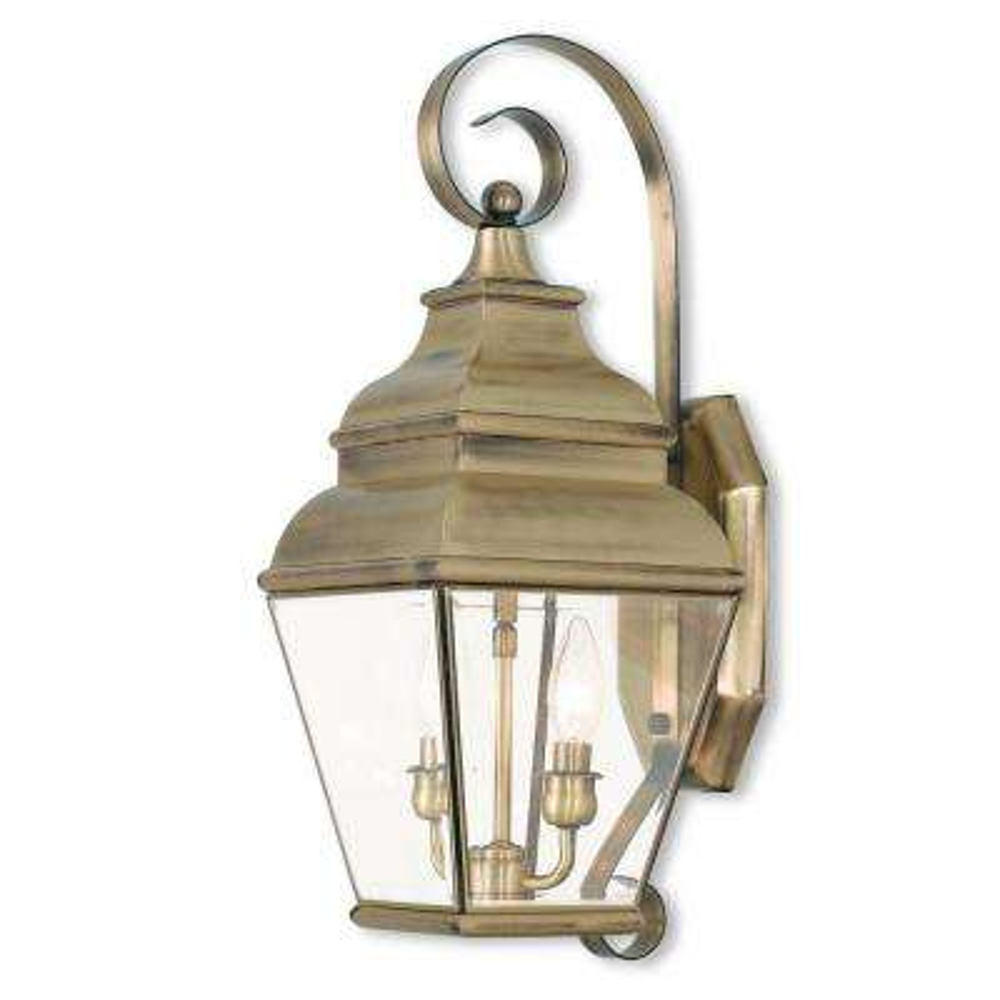 Exeter 2-Light Antique Brass Outdoor Wall Mount Lantern