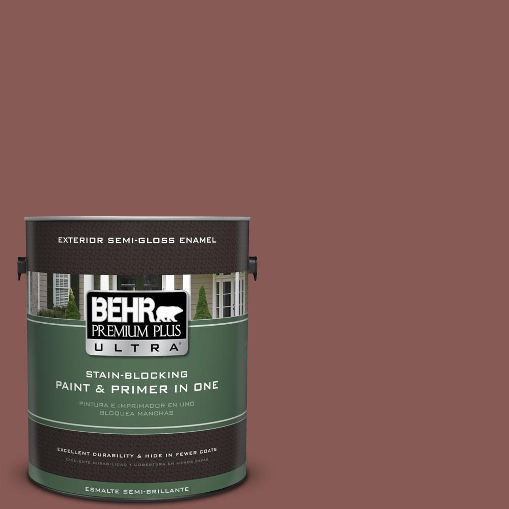 BEHR Premium Plus Ultra 1-gal. #PPU1-9 Red Willow Semi-Gloss Enamel Exterior Paint