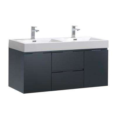 Valencia 48 in. W Wall Hung Bathroom Vanity in Dark Slate Gray with Acrylic Vanity Top in White