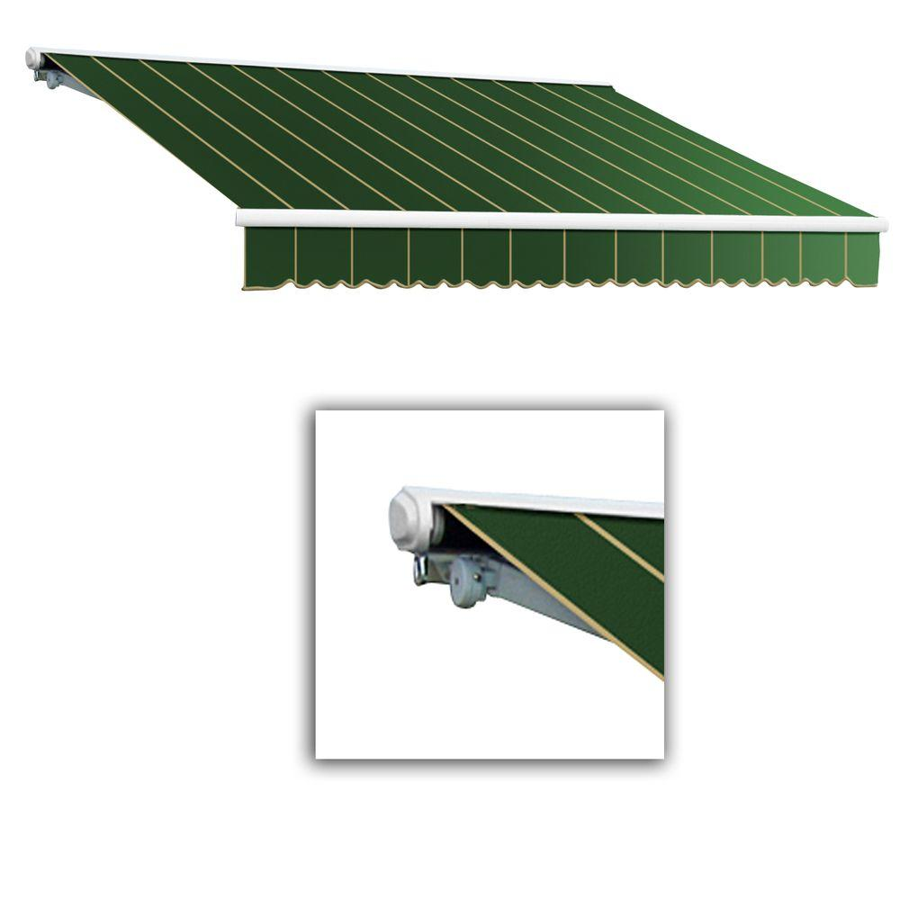 AWNTECH 10 ft. Galveston Semi-Cassette Right Motor with Remote Retractable Awning (96 in. Projection) in Forest Pin