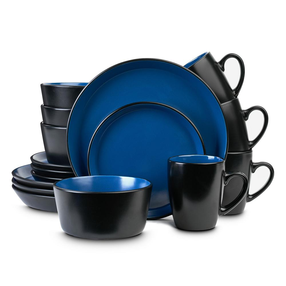 32-Piece Casual Blue and Black Stoneware Dinnerware Set (Set for 8)