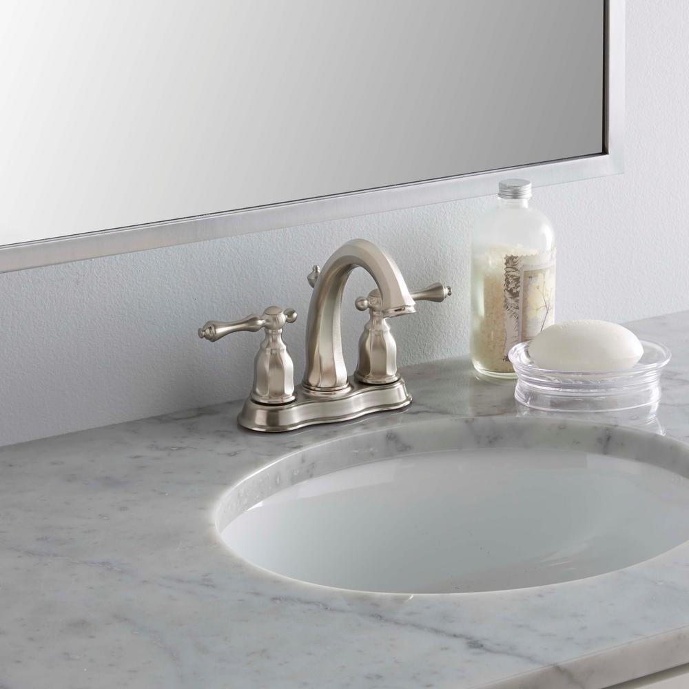 Kelston 4 in. 2-Handle Mid-Arc Water-Saving Bathroom Faucet in Vibrant Brushed Nickel