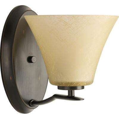 Bravo Collection 1-Light Antique Bronze Bath Sconce with Umber Linen Glass Shade